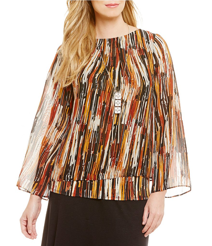 I.N. Studio Abstract Stripe Print Top with Removable Necklace