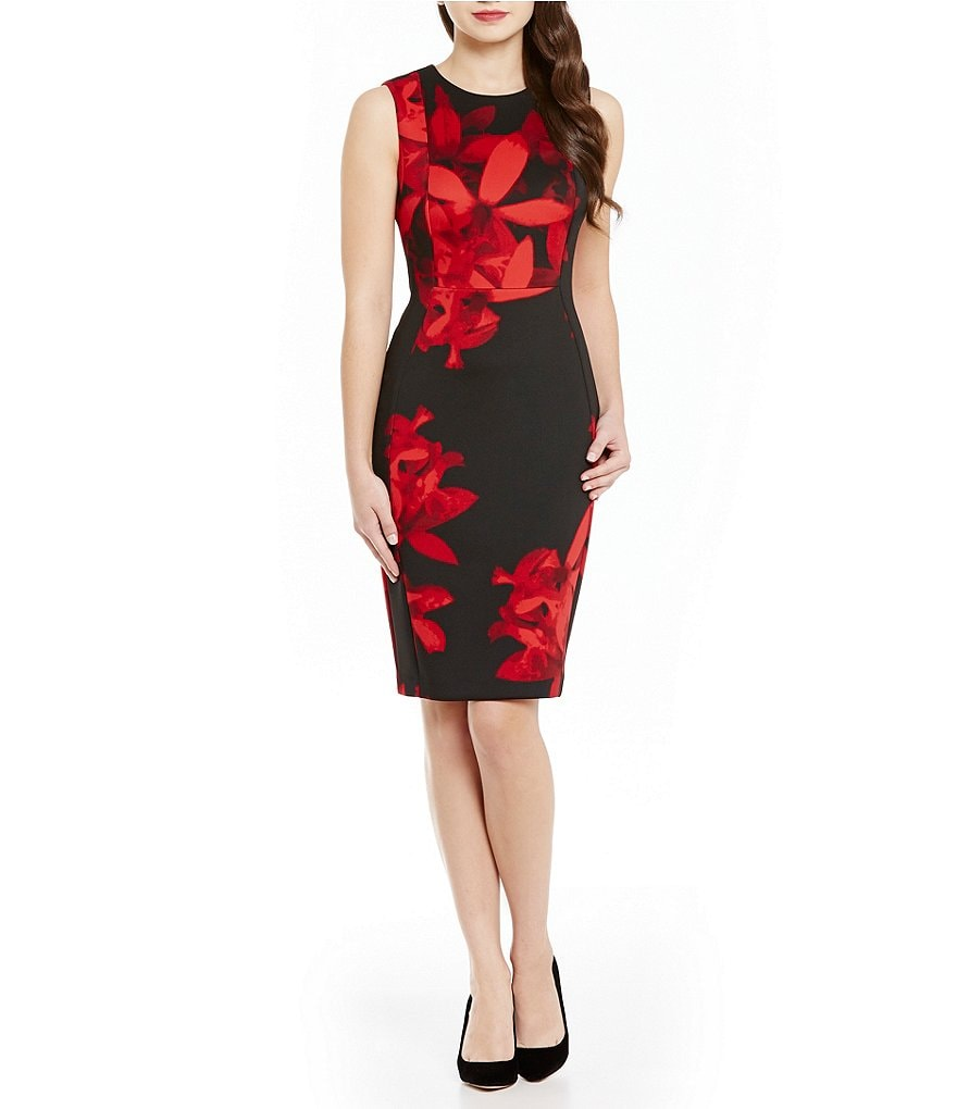 Calvin Klein Floral Print Scuba Sheath Dress