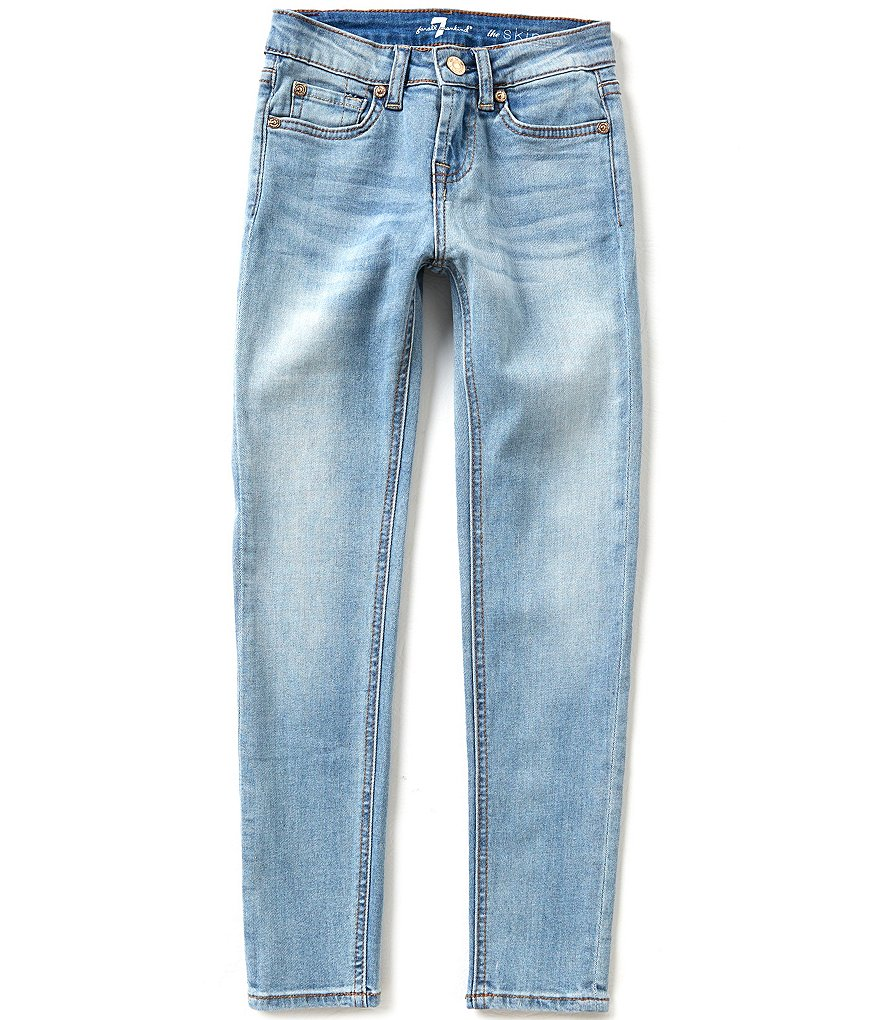7 for All Mankind Big Girls 7-14 The Skinny Light-Wash Whiskered Sanded Jeans