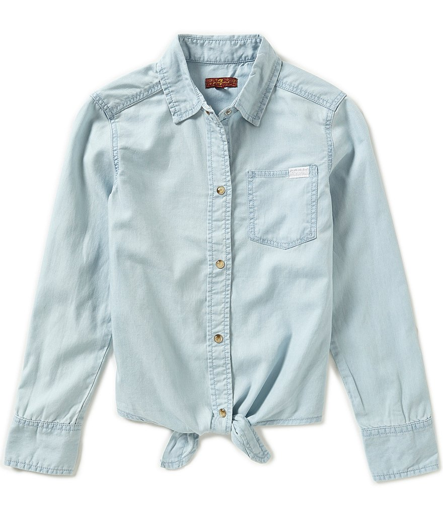 7 for All Mankind Big Girls 7-14 Knot-Tie Shirt