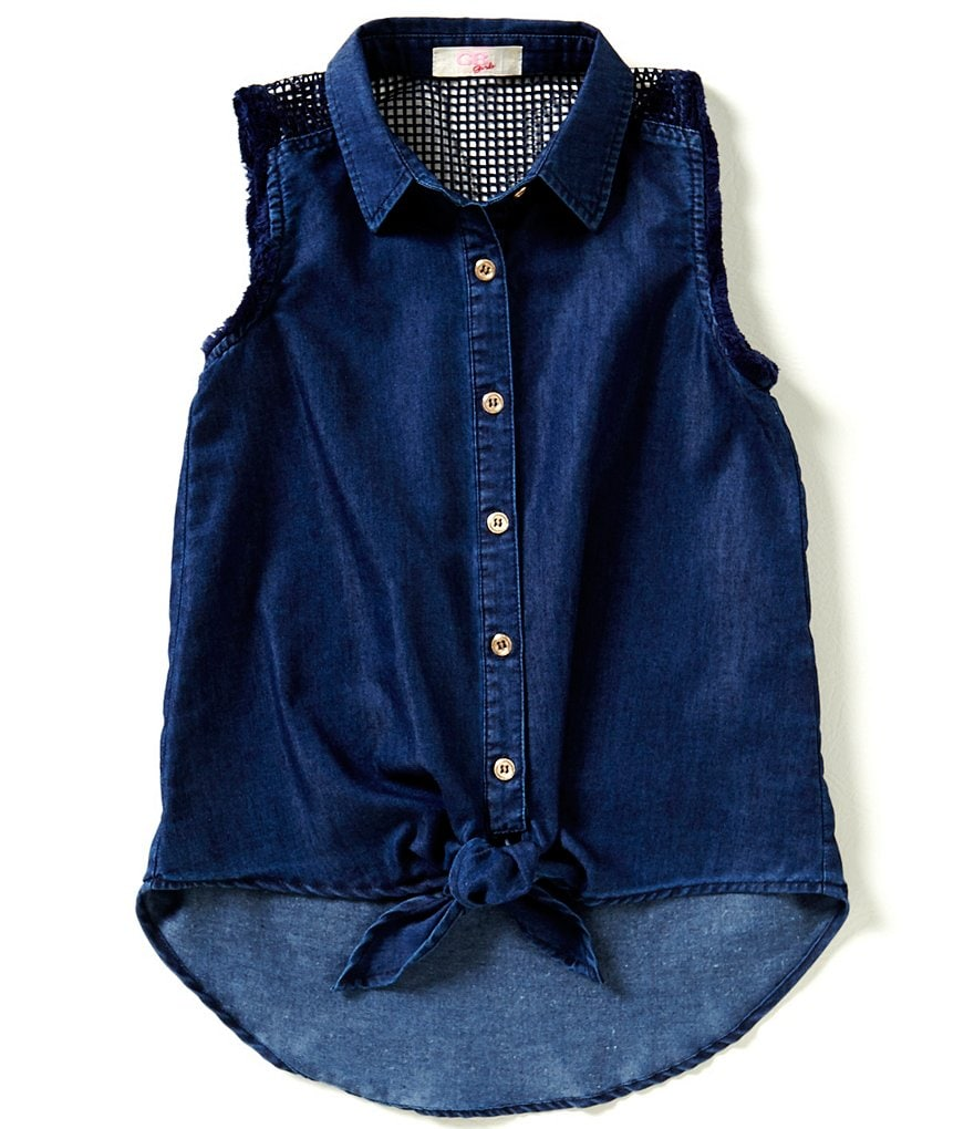 GB Girls Big Girls 7-16 Tie-Front Chambray Blouse