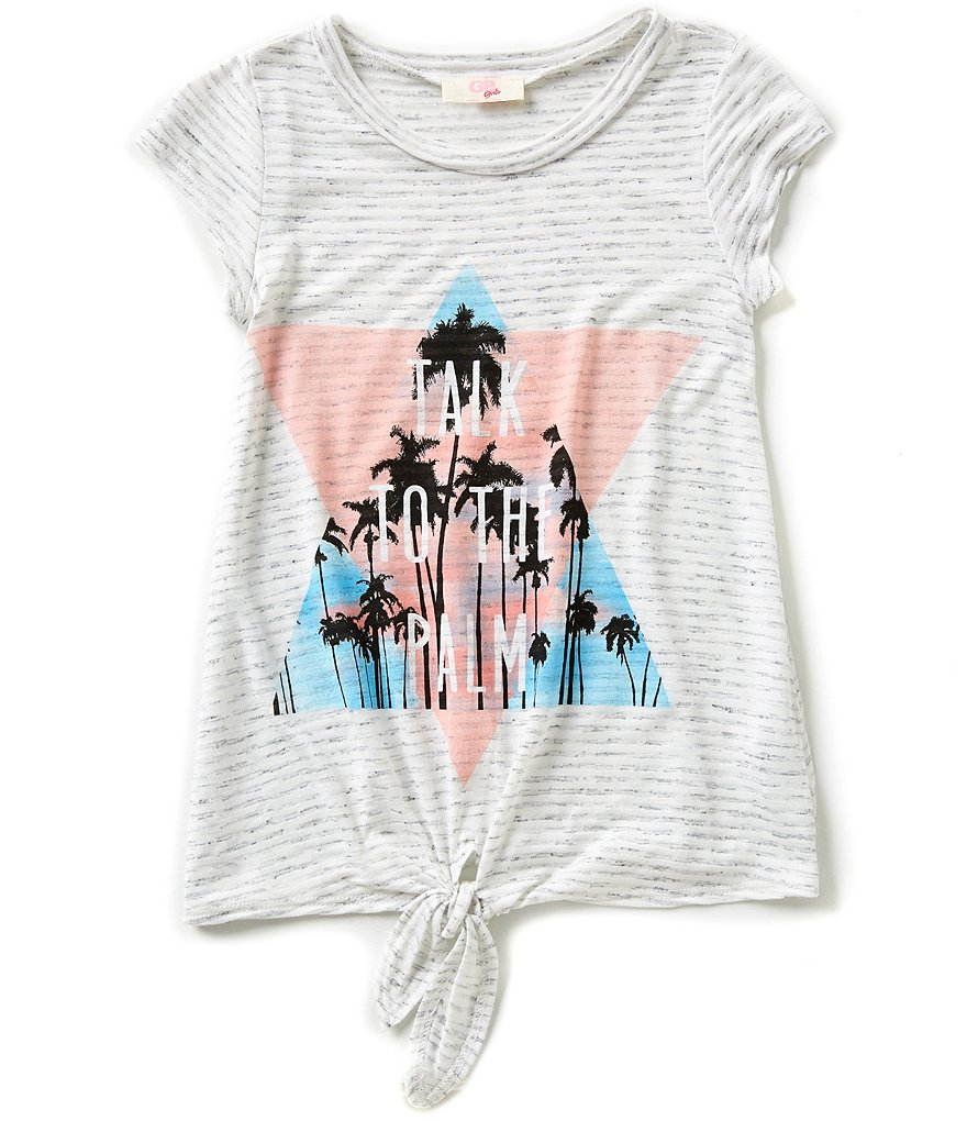 GB Girls Big Girls 7-16 Palm Tie-Front Tee