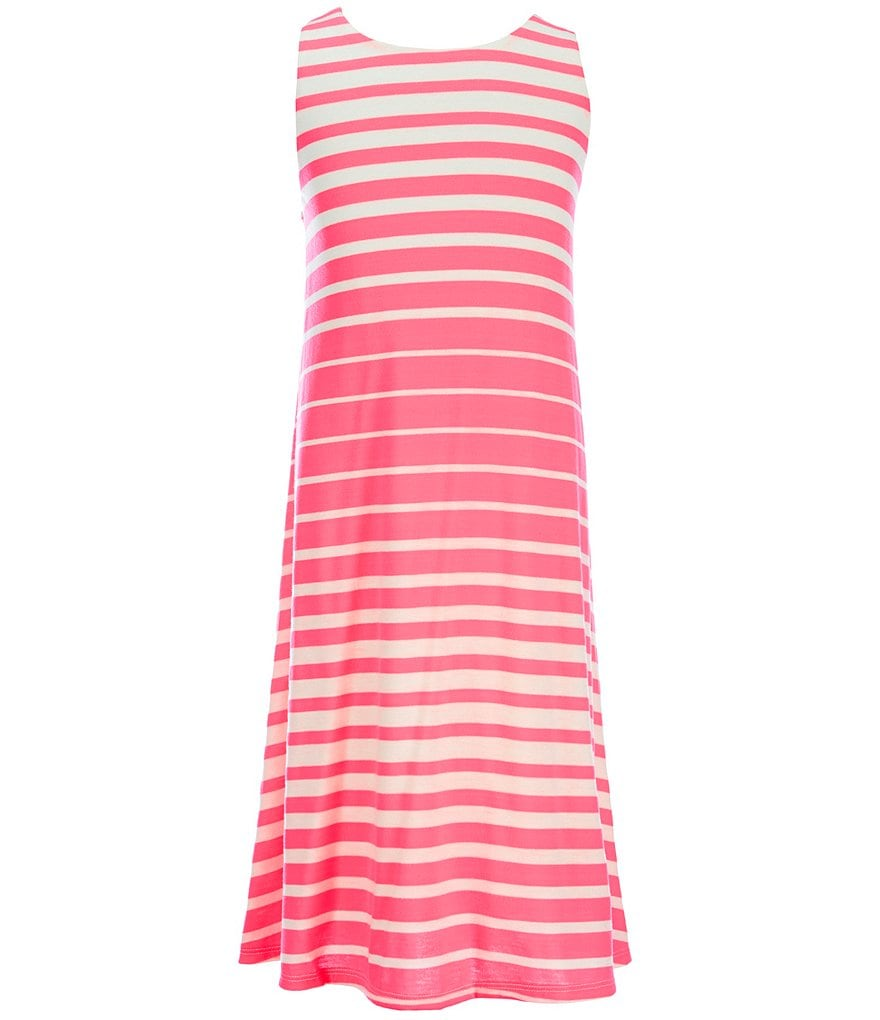 GB Girls Big Girls 7-16 Variegated Stripe Swing Dress