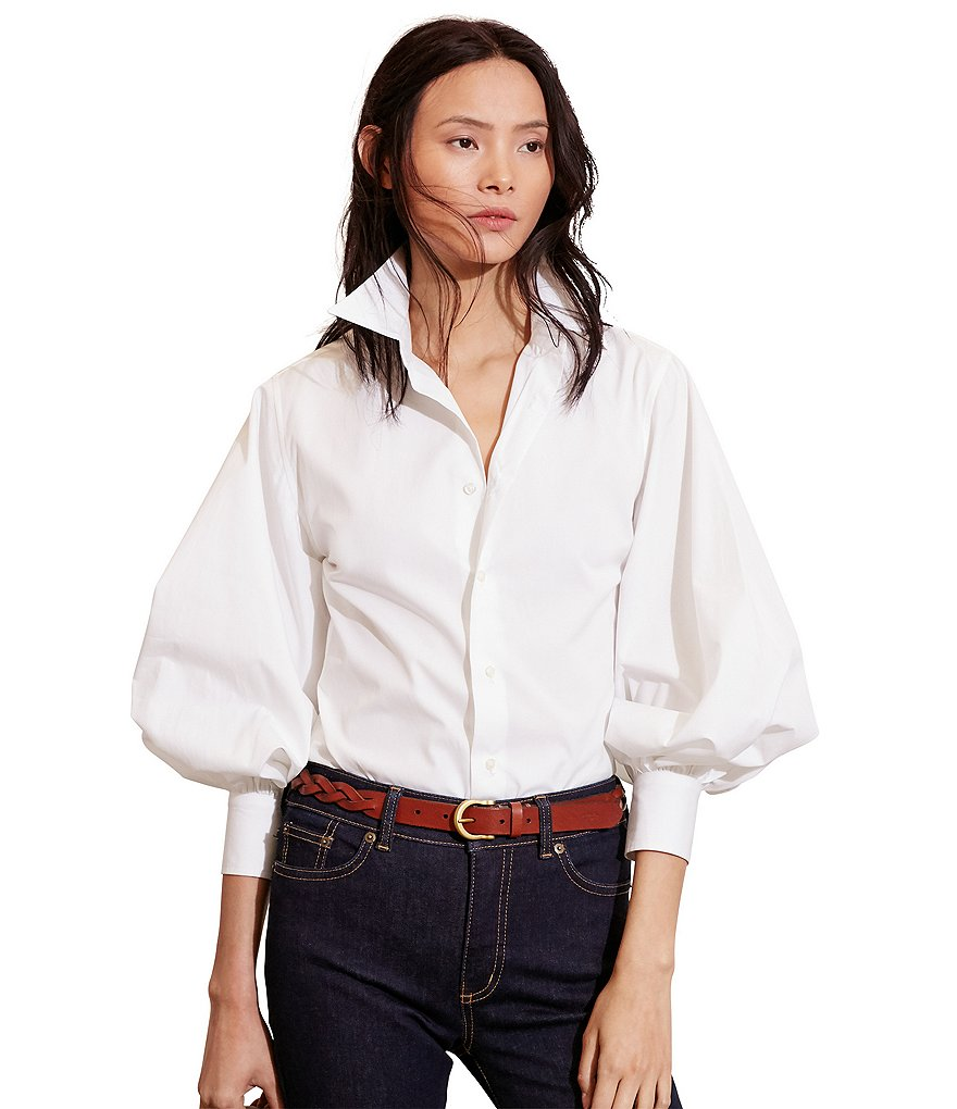 Lauren Ralph Lauren Bishop-Sleeve Cotton Shirt