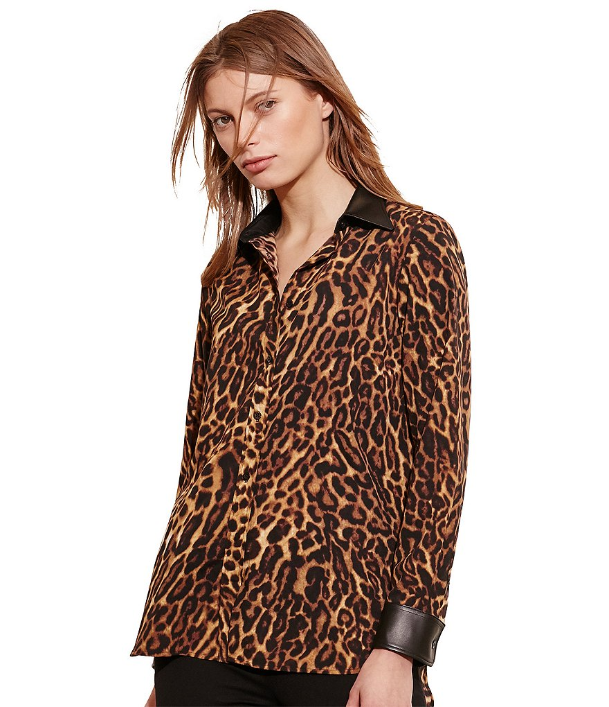Lauren Ralph Lauren Ocelot-Print Faux-Leather Crepe Shirt