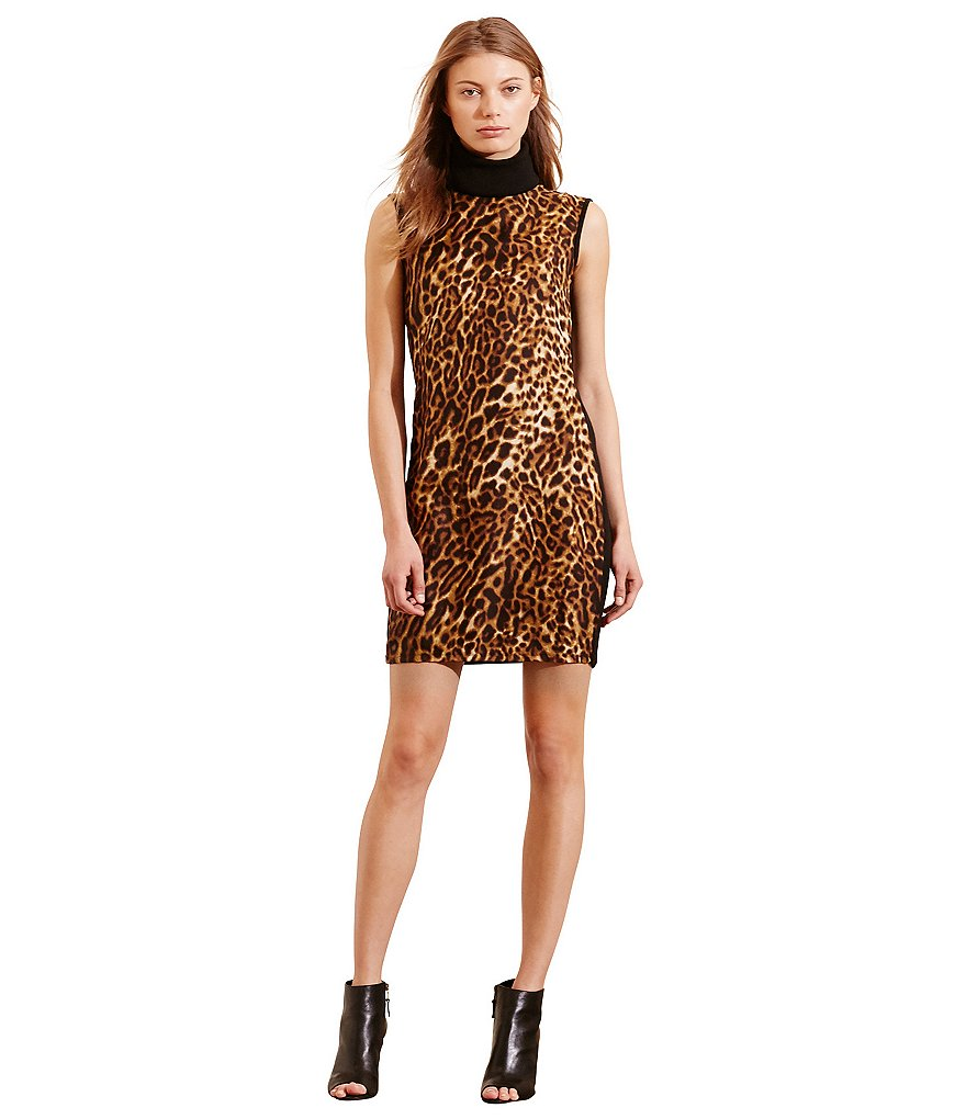 Lauren Ralph Lauren Ocelot-Front Turtleneck Dress