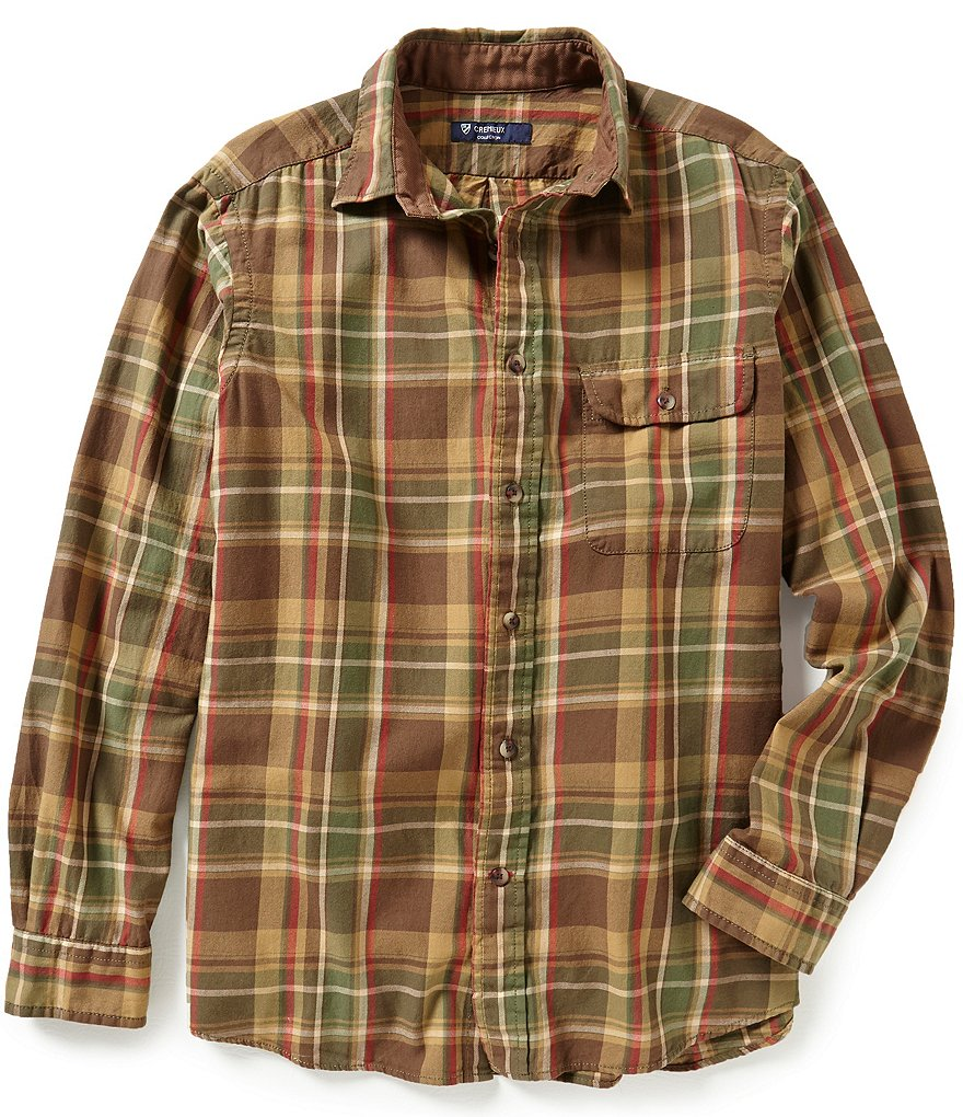Cremieux Highland Peaks Collection Elbow-Patch Plaid Twill Woven Shirt
