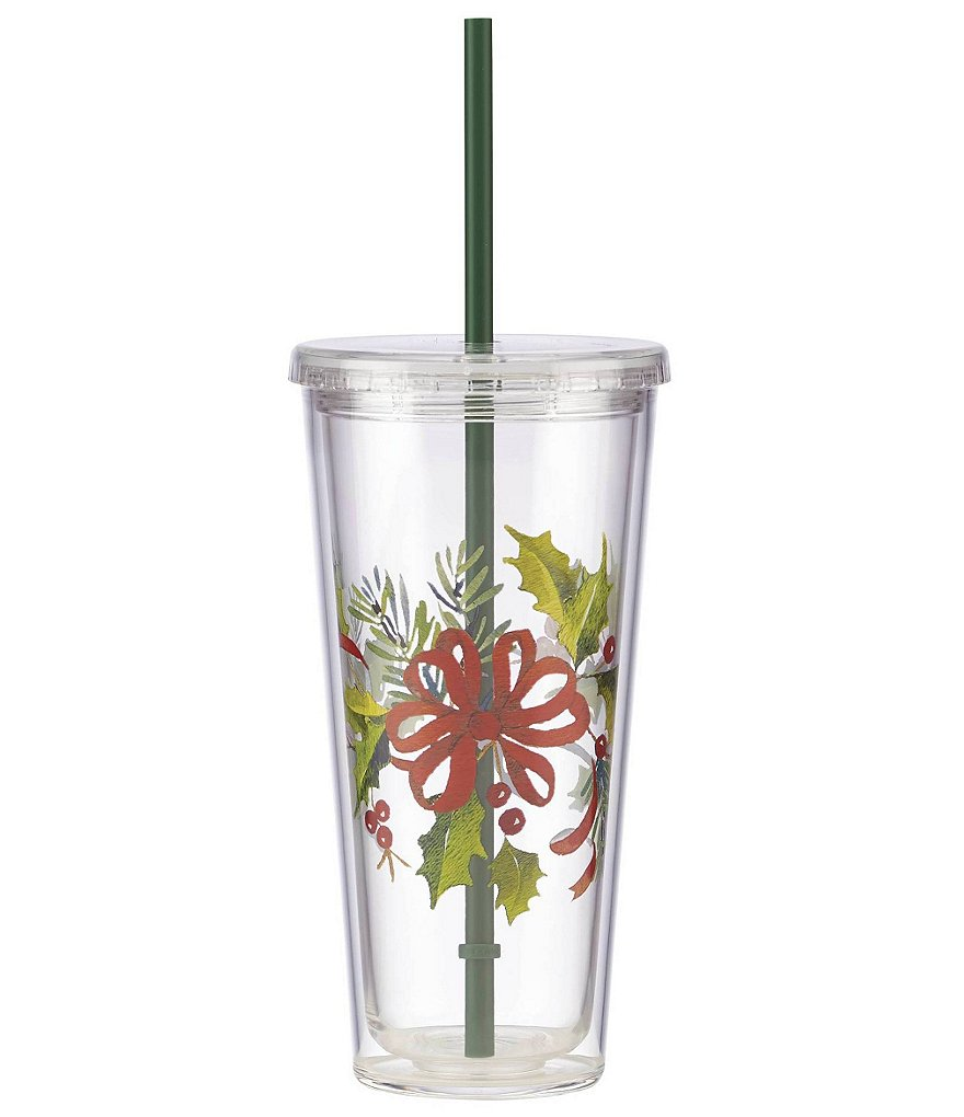 Lenox Holiday Holly Ribbon Tumbler with Lid & Straw