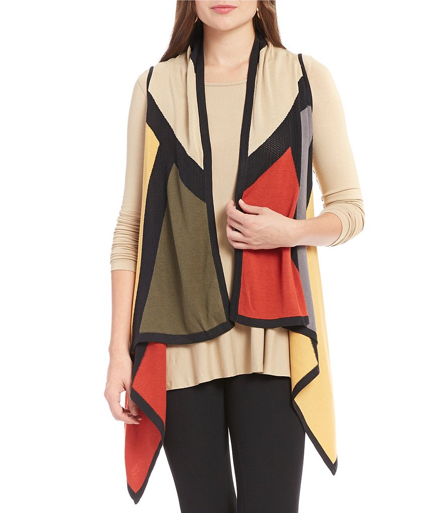 Multiples Drape Front Color Block Sweater Knit Vest