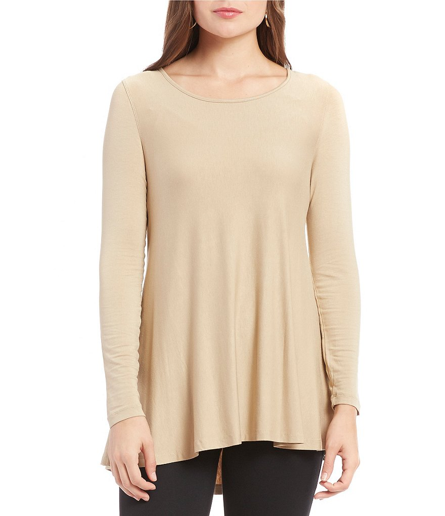 Multiples 3/4 Sleeve Scoop Neck Hi-Lo Solid Top