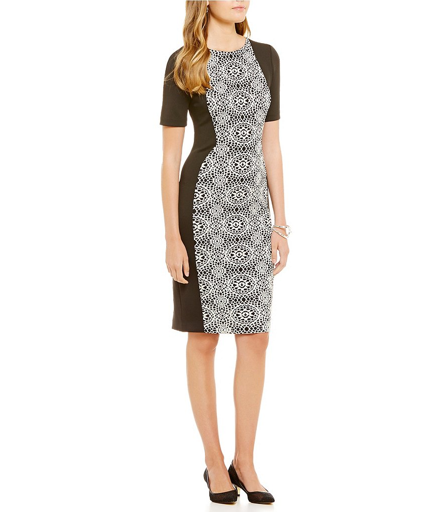 Adrianna Papell Geo Lace Jewel Neck Sheath Dress