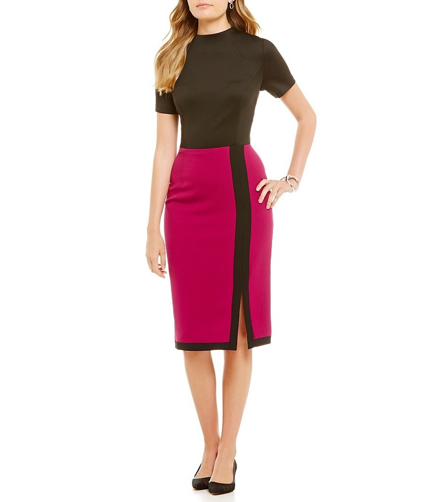 Adrianna Papell Two-Tone Mock Neck Sheath Dress