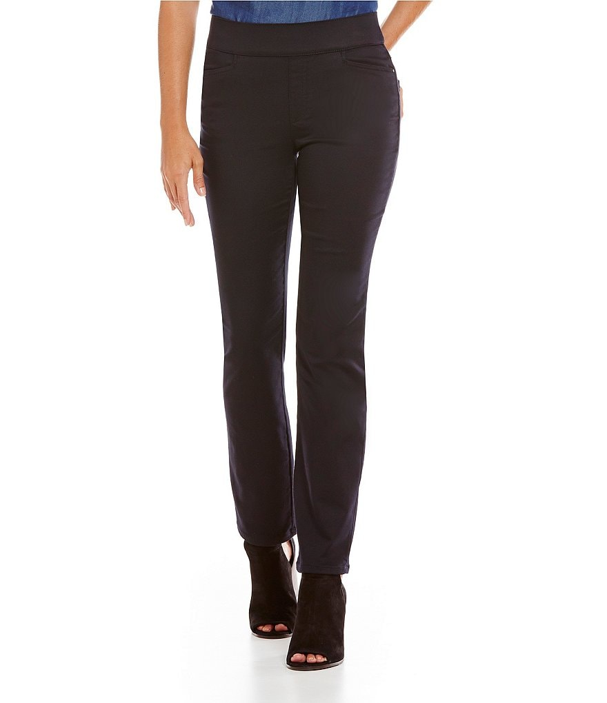 Intro Petite Sheri Solid Pull-On Straight-Leg Pintuck Pant