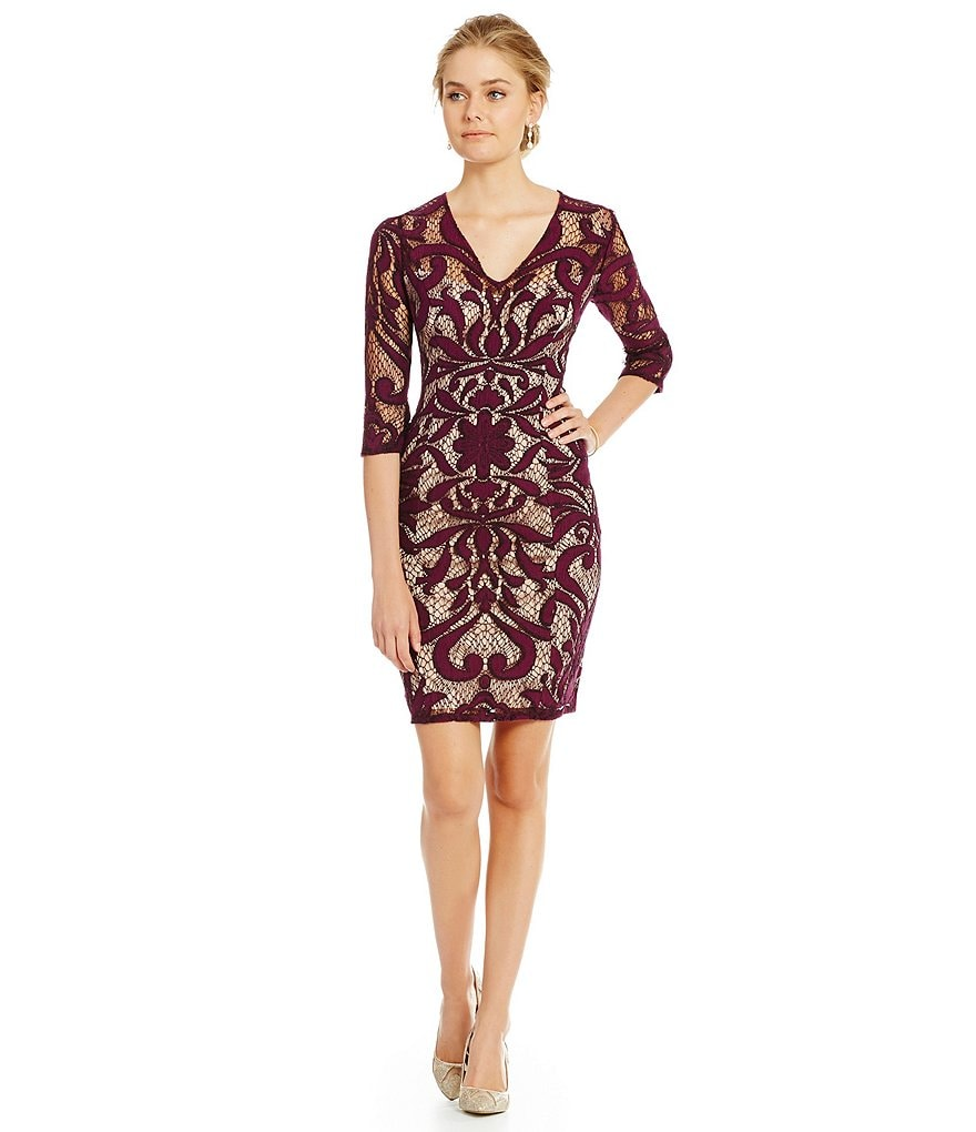 Adrianna Papell Illusion Deco Lace V-Neck Sheath Dress