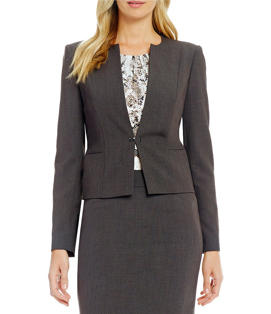 Calvin Klein Luxe Stretch Suiting Metal Buckle Closure Jacket