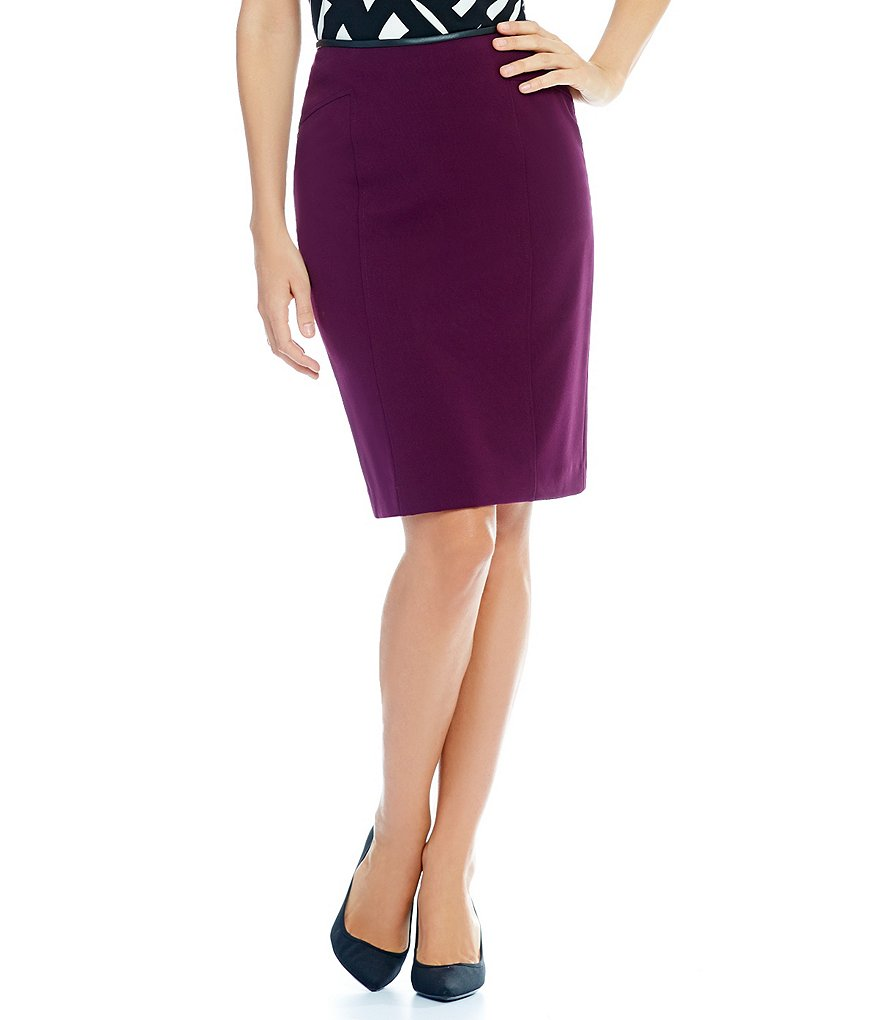 Calvin Klein Luxe Stretch Suiting Faux Leather Trim Pencil Skirt