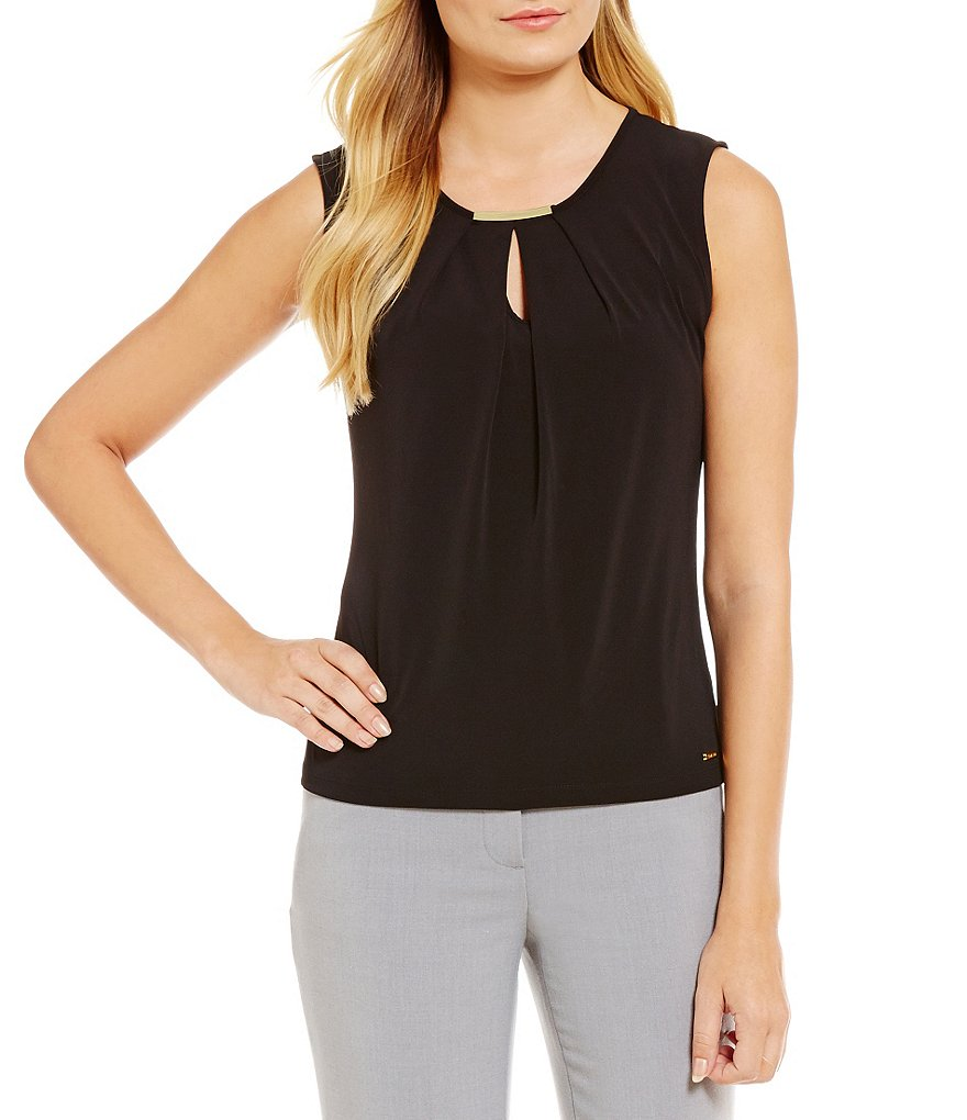 Calvin Klein Keyhole Pleat Neck Metal Bar Trim Matte Jersey Shell