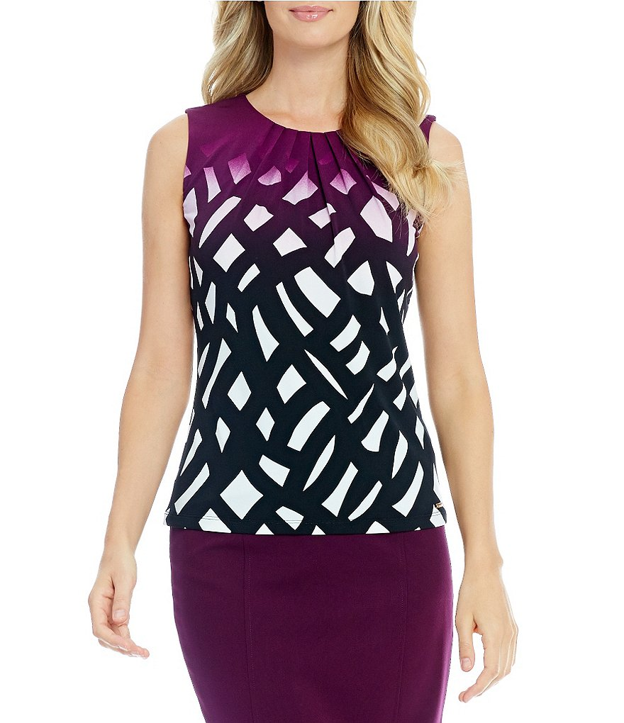 Calvin Klein Pleat Neck Ombre Geometric Print Matte Jersey Shell
