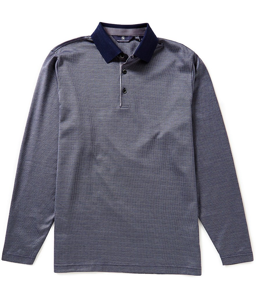 Hart Schaffner Marx Two-Tone Jacquard Long-Sleeve Polo Shirt