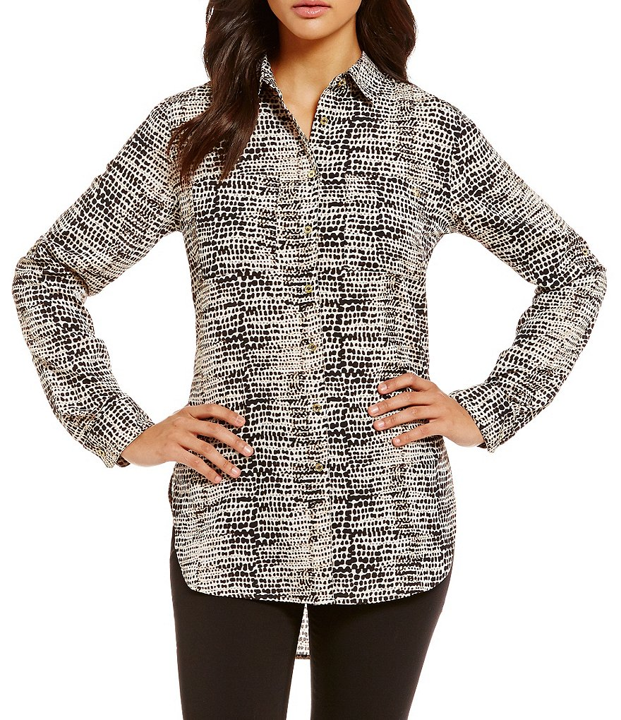 Calvin Klein Printed Roll-Sleeve Hi-Low Hem Tunic