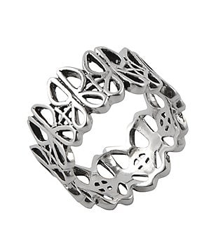 Calvary Sterling Silver J Scroll Band Ring