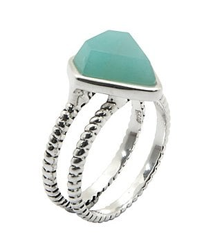 Calvary Sterling Silver and Amazonite Stone Double-Band Ring