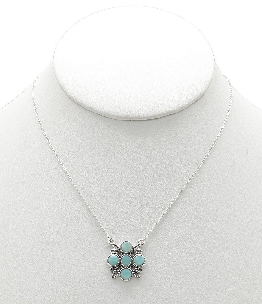 Calvary Sterling Silver and Amazonite Necklace