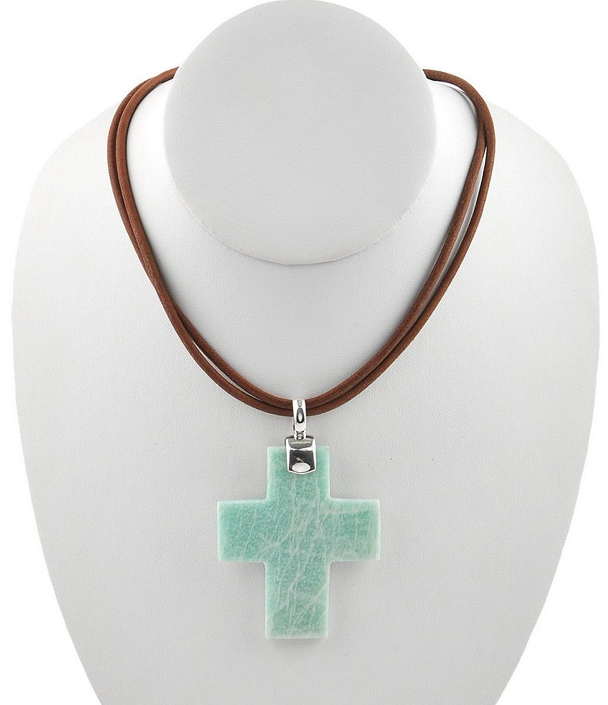 Calvary Sterling Silver and Amazonite Cross Pendant Necklace