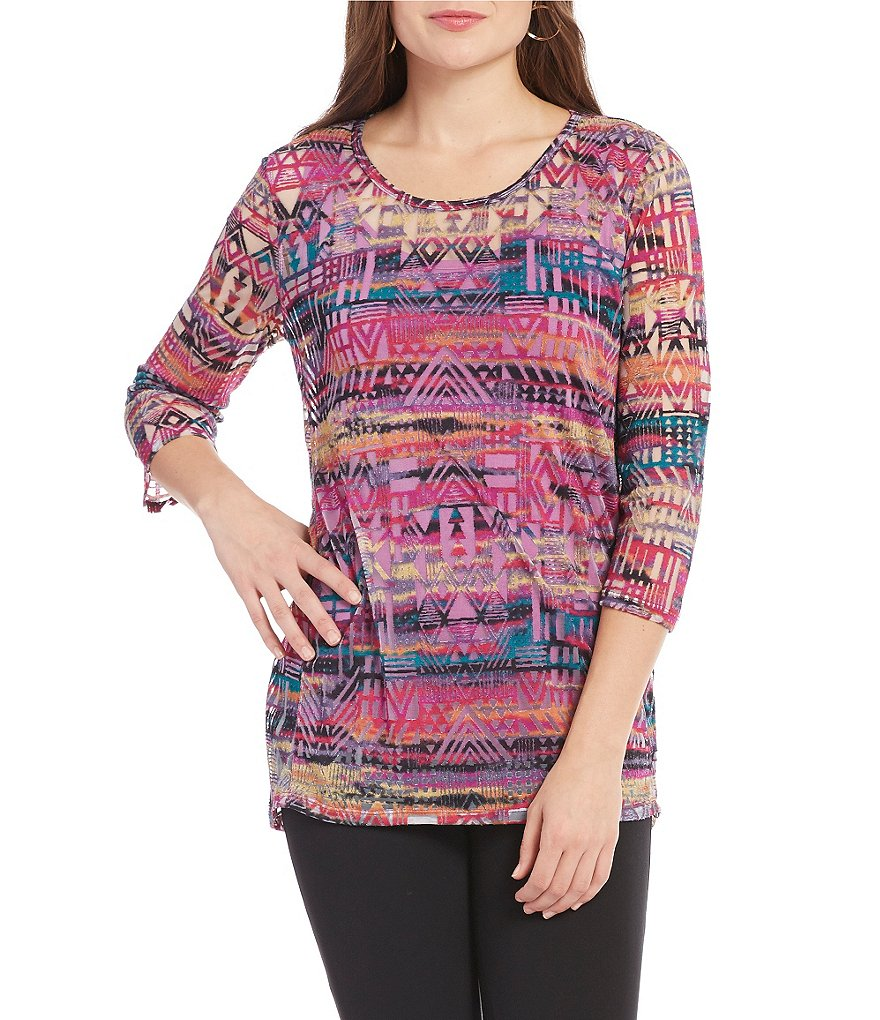 Multiples 3/4 Sleeve Scoop Neck Print Burnout Hi-Lo Top
