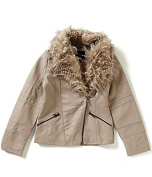 Jessica Simpson Big Girls 7-16 Faux-Fur Lined Moto Jacket