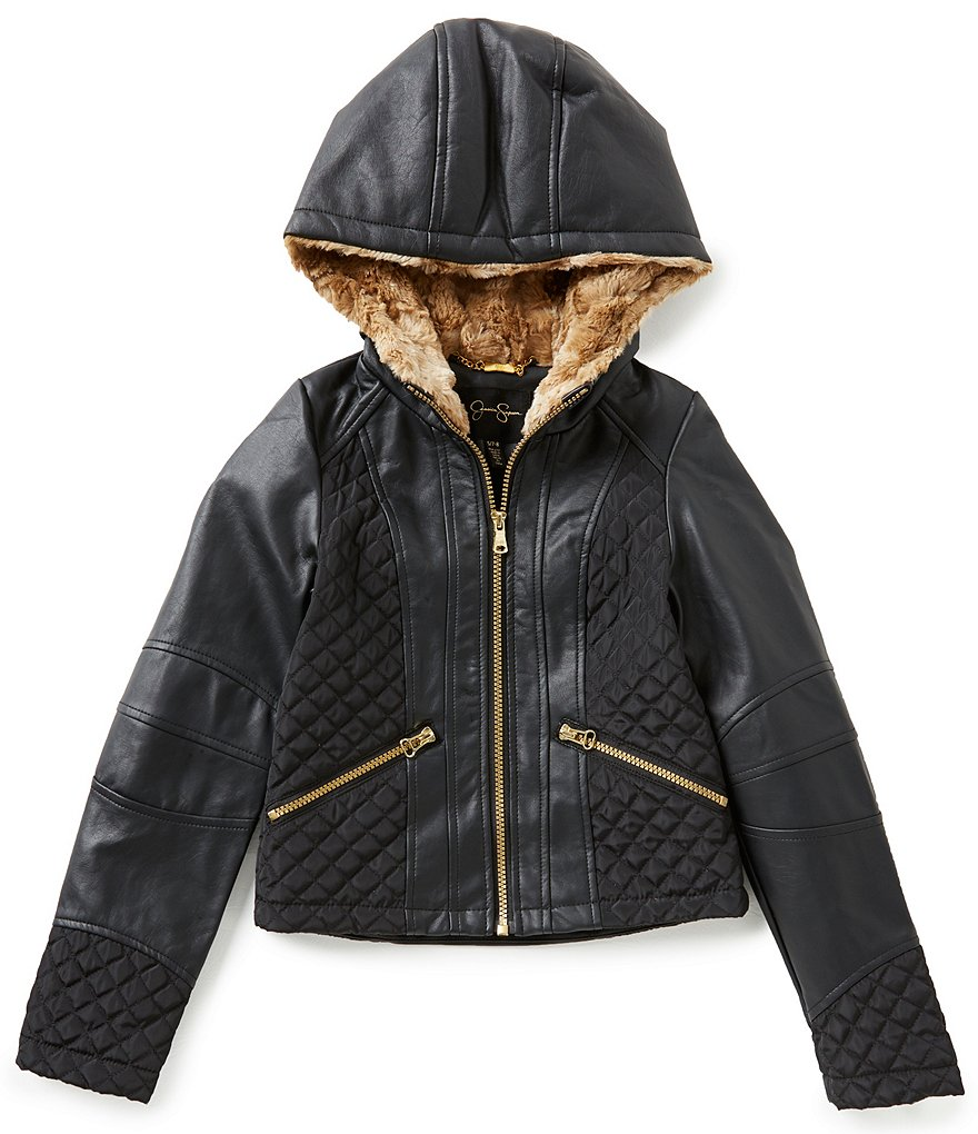 Jessica Simpson Big Girls 7-16 Faux-Leather Faux-Fur Moto Hoodie Jacket