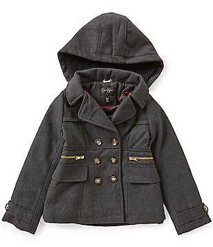 Jessica Simpson Big Girls 7-16 Faux-Fur Hooded Peacoat