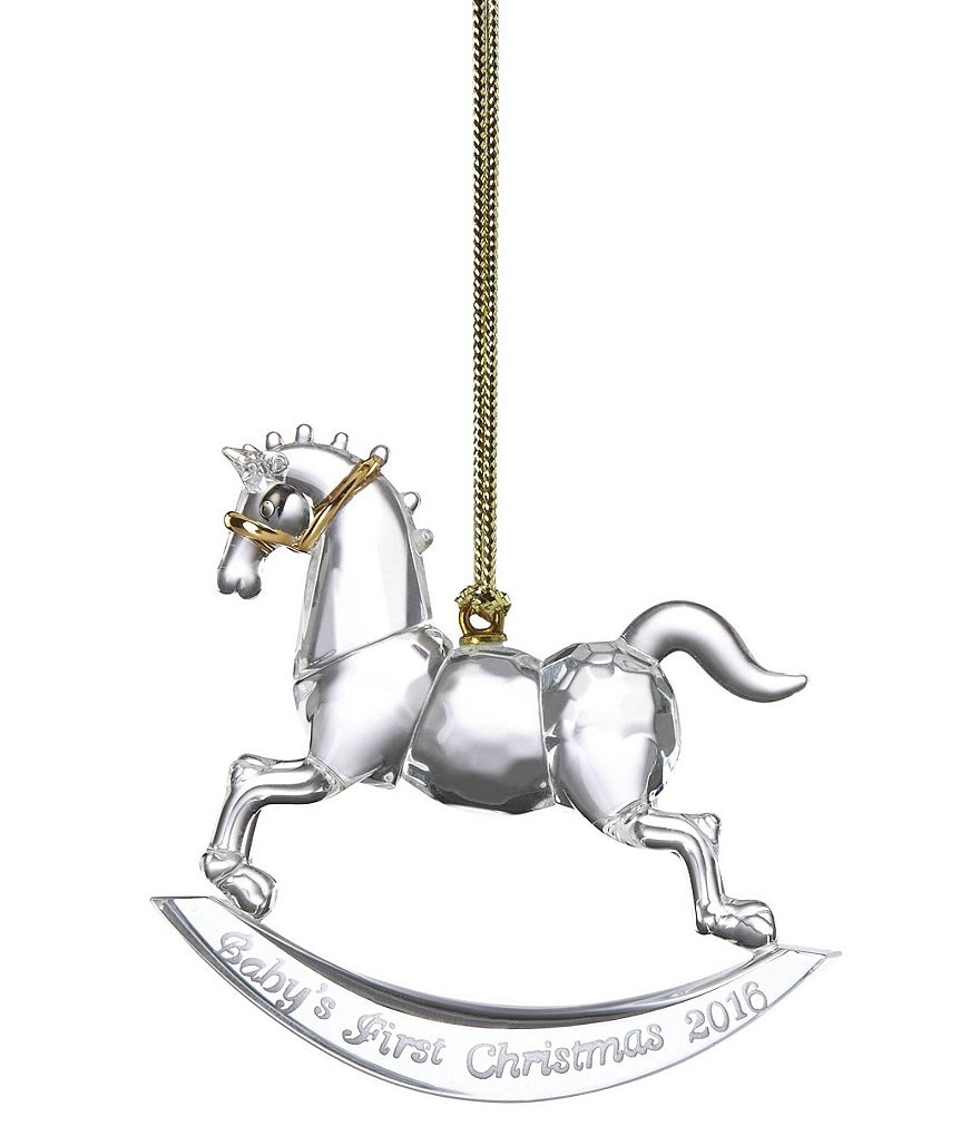 Lenox Crystal Baby's First Christmas Rocking Horse 2016 Ornament