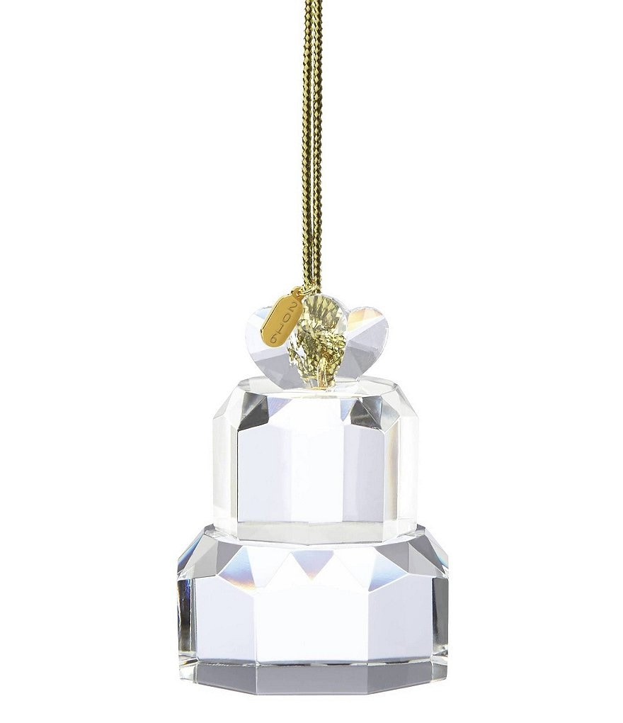 Lenox 2016 Our First Christmas Crystal Wedding Cake Ornament
