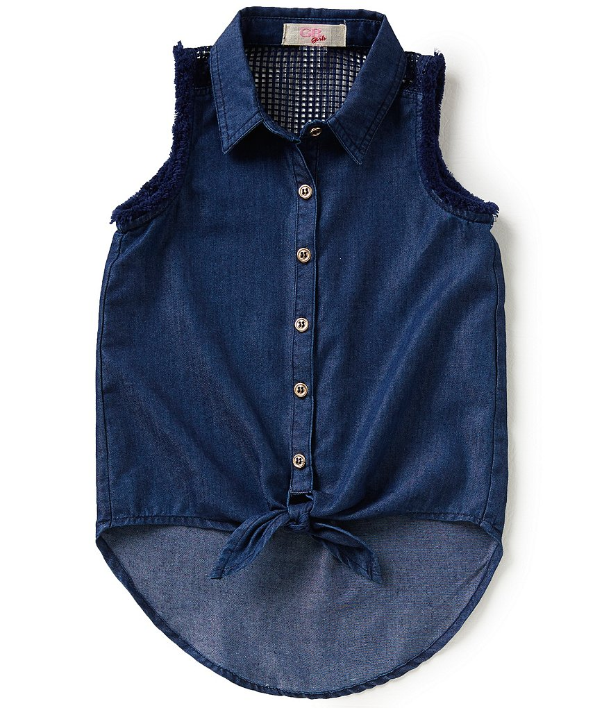 GB Girls Little Girls 4-6X Tie Front Chambray Blouse