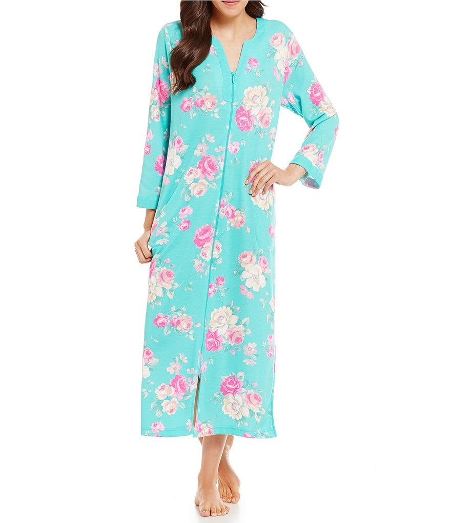 Miss Elaine Cottonessa Floral Zip Robe