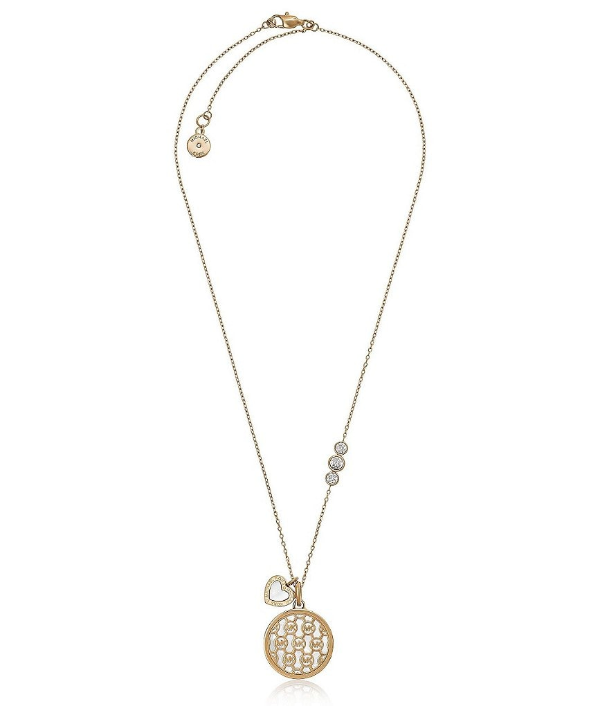 Michael Kors Mother-of-Pearl Logo Pendant Necklace
