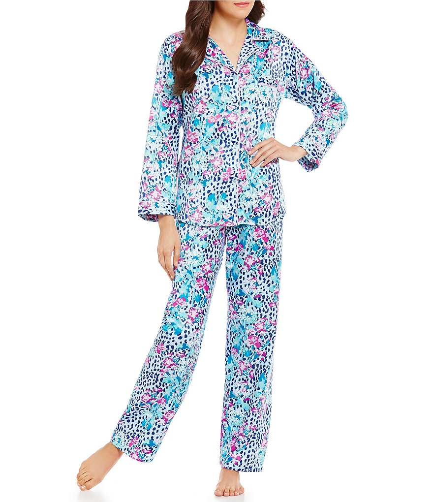Miss Elaine Brushed Back Satin Animal Printed Pajamas