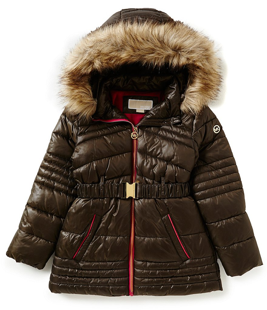 MICHAEL Michael Kors Big Girls 7-16 Puffer Belted Faux-Fur Hood Coat