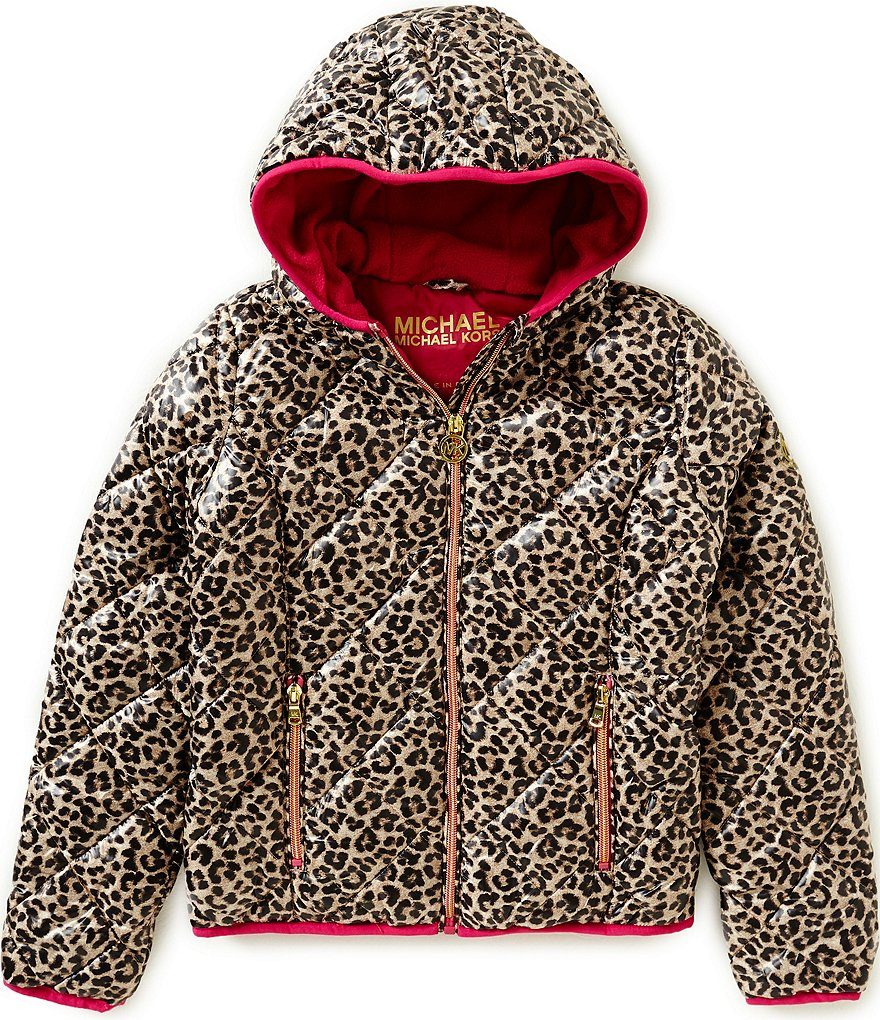 MICHAEL Michael Kors Big Girls 7-16 Leopard Puffer Coat