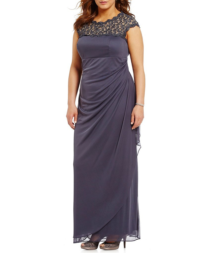 Alex Evenings Plus Cap-Sleeve Lace-Yoke Gown