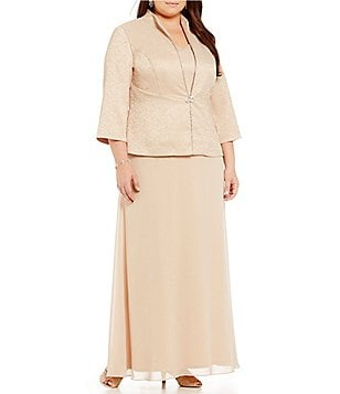 Alex Evenings Plus Chain-Trim Jacket Dress