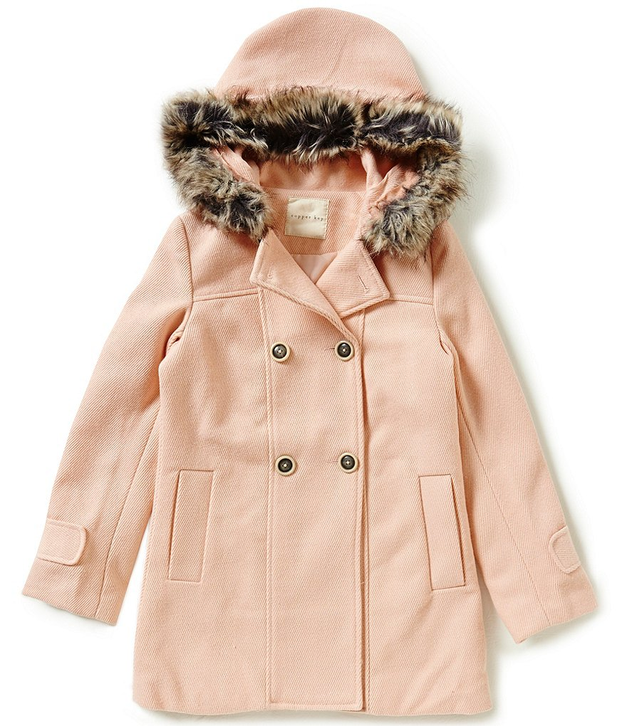 Copper Key Big Girls 7-16 Double-Breasted Faux-Fur Hooded Coat