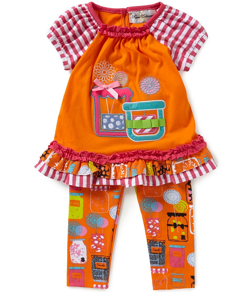 Rare Editions Baby Girls 12-24 Months Jar-Appliquéd Mixed-Media Top and Printed Leggings Set