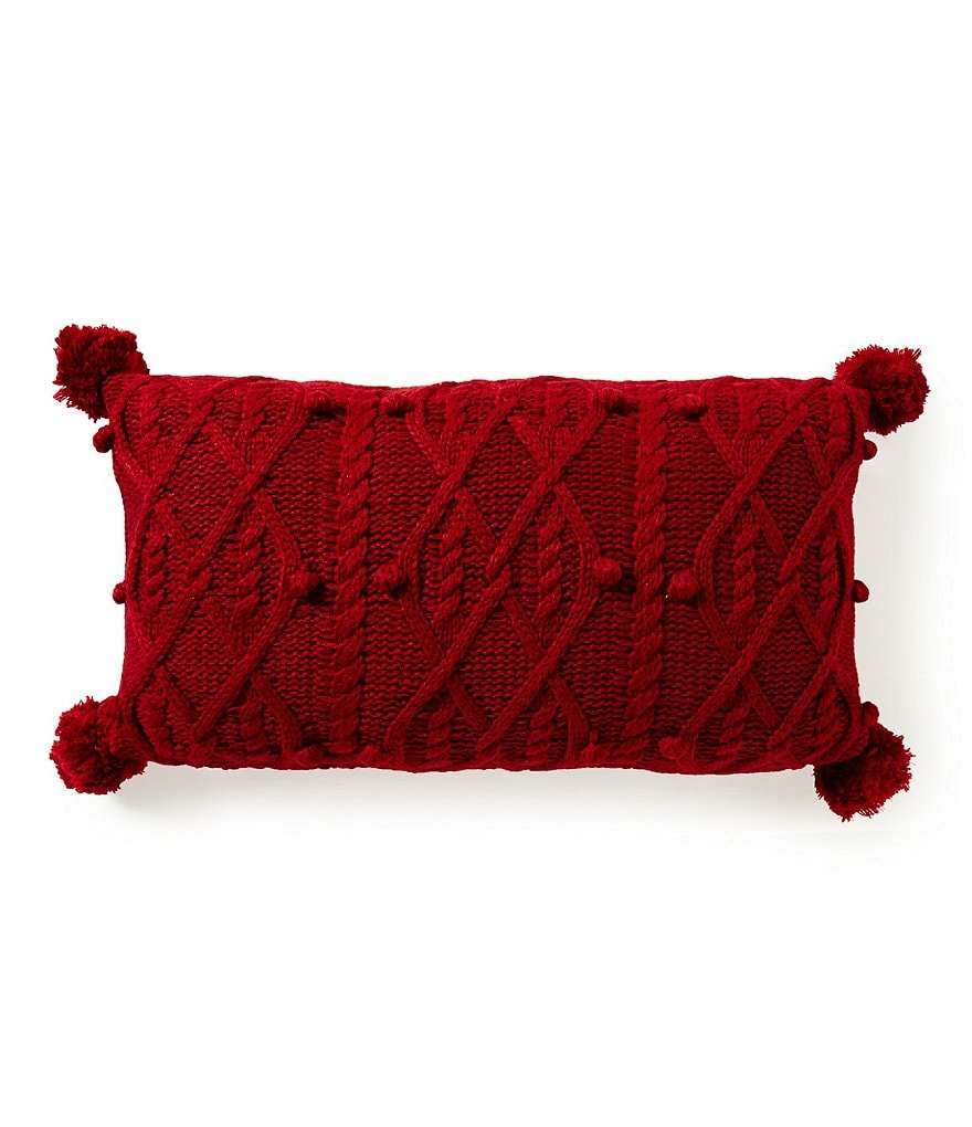Noble Excellence Pom-Trimmed Cable-Knit Pillow