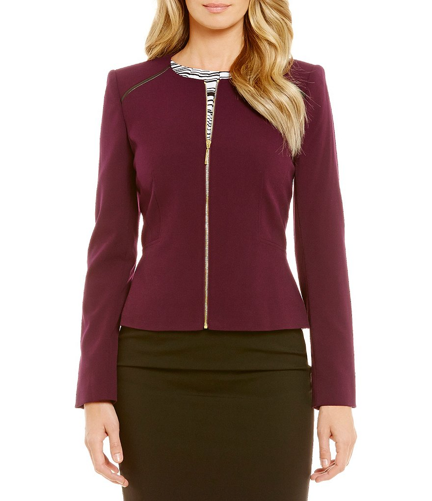 Calvin Klein Petites Luxe Stretch Suiting Zip Front Faux Leather Trim Jacket