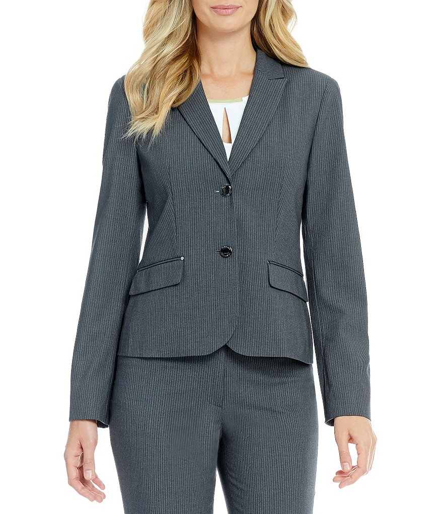Calvin Klein Petite Luxe Stretch Pinstripe Suiting Two Button Jacket