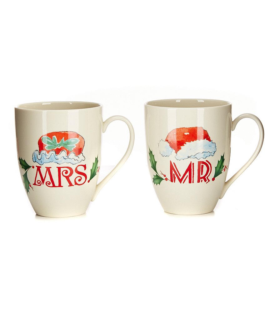 Lenox Home for the Holidays Mr. & Mrs. Santa Hat Mug Pair