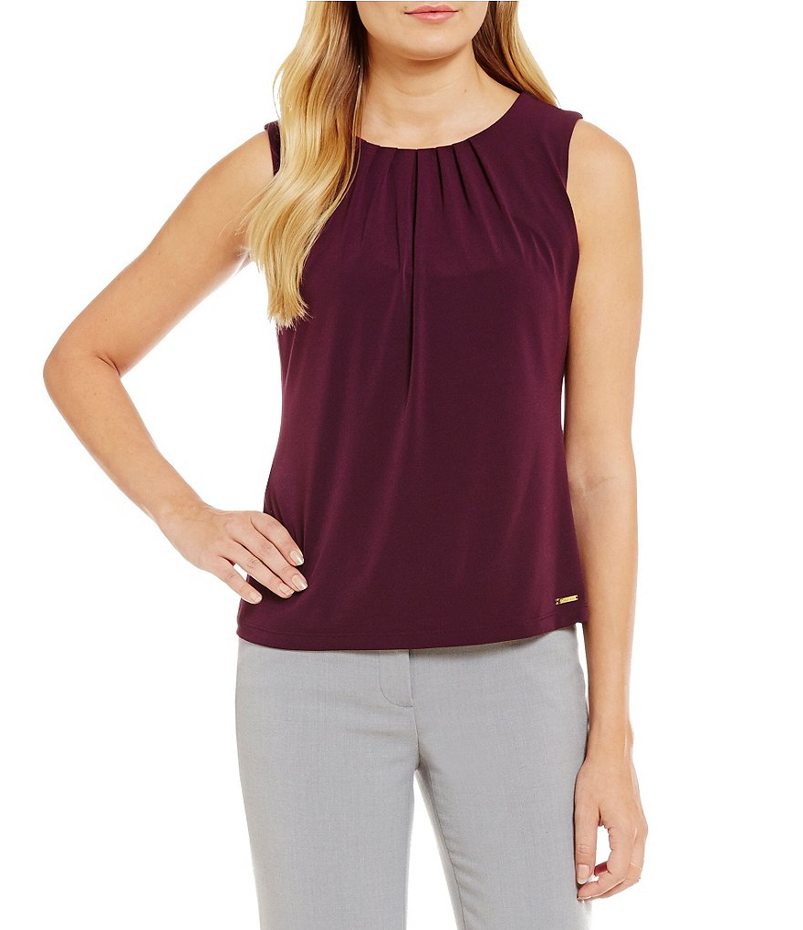 Calvin Klein Petites Pleat Neck Matte Jersey Shell
