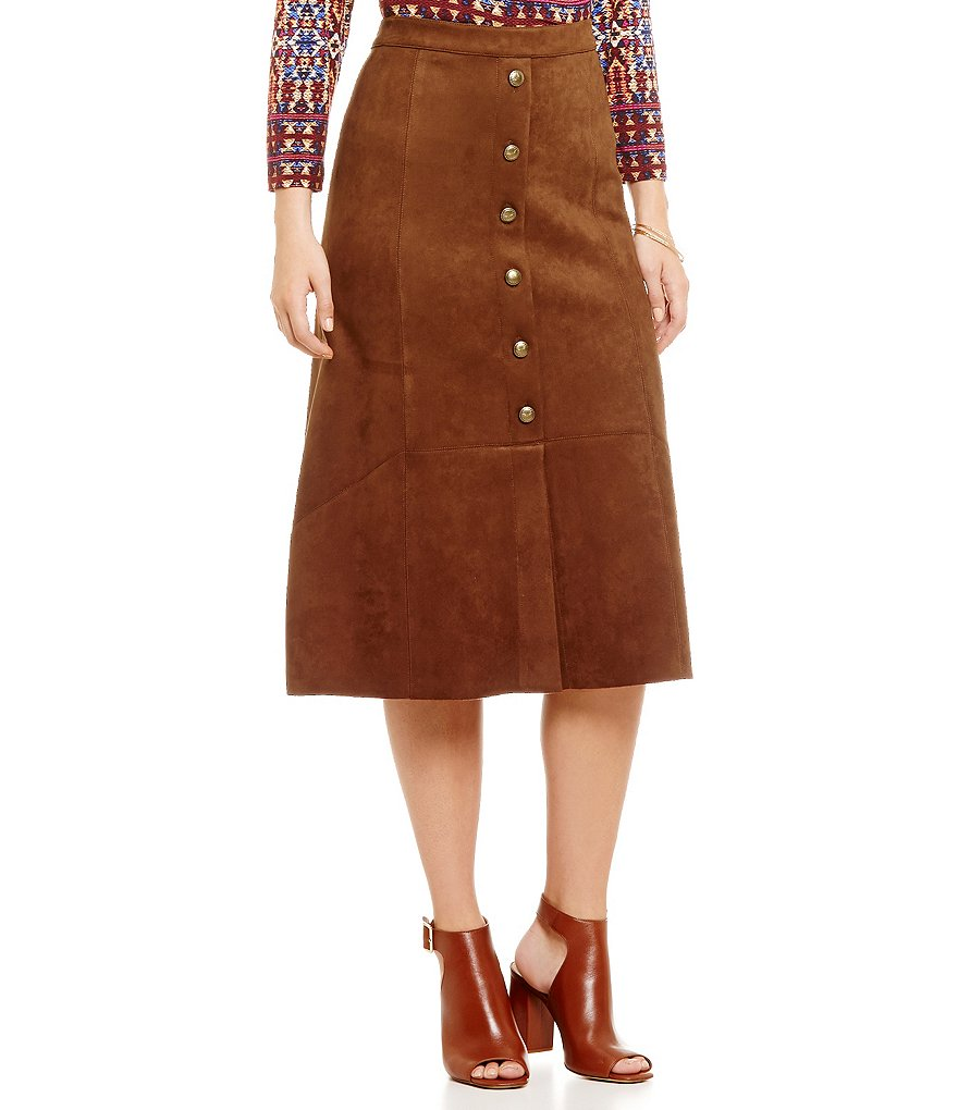 Ruby Rd. Petite Heavy Stretch Suede Button-Front Midi A-Line Skirt